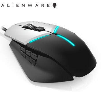 宇宙人Alienware Elite版AW 958ゲームモングマイウス(AlienFX灯効12000 DPI-5段飛敏設定13個のプログラム可能ボタン)黒銀