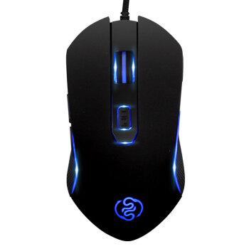 霊蛇(LINGS HE)有線マウスゲームミングース光を食べて鶏マウスの高速USBケーブルを編むゲームM 80黒